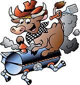 Cow riding a BBQ barrel