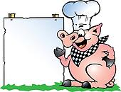 Chef Pig standing and pointing