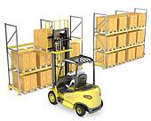 Forklift truck loads pallet on the rack