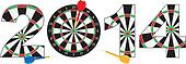 2014 New Year Dartboard with Darts Illustration