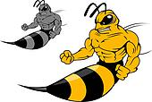 Danger yellow hornet with sting