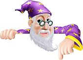 Fun Wizard Pointing Down