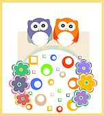 Owl baby family invitation card for baby boy