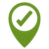 Four Leaf Clover of Check Mark and Navication Icon