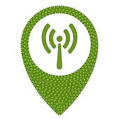 Four Leaf Clover of Wireless Sign in Navication Icon