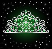 women's tiara crown wedding with green stones and the stars