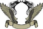 Emblem with wings and griffin, hand drawing. Vector illustration