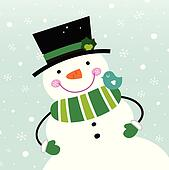 Cute winter Snowman isolated on snowing background