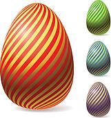 Color Easter eggs with golden stripes.