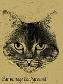 Vintage background with cat theme