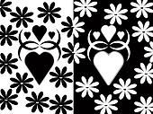 Black-White hearts and flowers