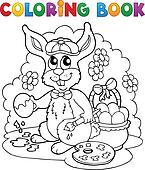 Coloring book rabbit theme 3