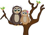 Two Owls Sit in a Spring tree