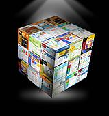 Internet Website 3D Cube on Black