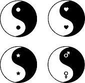 Set of ying yang symbols