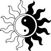 Ying yang symbol in sun