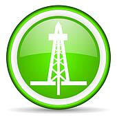 drilling green glossy icon on white background