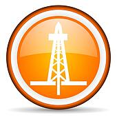drilling orange glossy icon on white background
