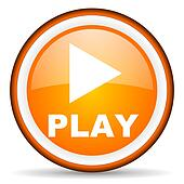 play orange glossy icon on white background