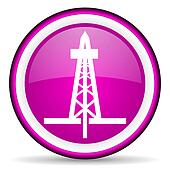 drilling violet glossy icon on white background