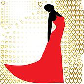black silhouette of  beautiful woman in red dress