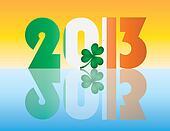 New Year 2013 Ireland Flag Illustration