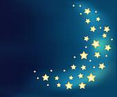 Background with a moon made of shiny cartoon stars