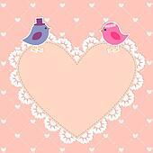 Romantic card with cute birds