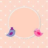 Romantic frame with cute birds