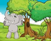 Elephant and trees
