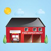 Fire Station Clip Art - Royalty Free - GoGraph
