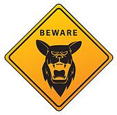 Beware Sign Shepherd Dog