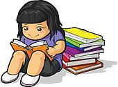 Cartoon of Girl Student Studying &