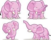Elephant in Several Poses - Standin