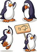 Penguin in Several Poses - Happy, S