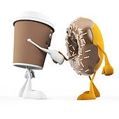 Food character coffee cup and donut
