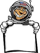 Happy Astronaut Spaceman with Sign Cartoon Vector Illustration