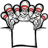 Happy Bowling Pins with Sign Cartoon Vector Illustration