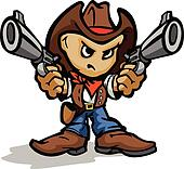 Cute Kid Cowboy Aiming Guns