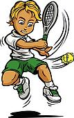 Kid Tennis Player Boy Swinging Racquet at Ball