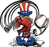 Uncle Sam Swinging Baseball Bat