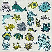 Summer Sea Life creatures - star, fish, shell, crab - for design and scrapbook in vector