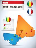 Mali - France War Map Infographic with Glossy Buttons