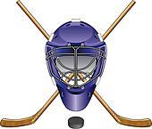 Ice Hockey Goalie Mask Sticks Puck