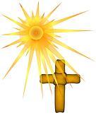 Brown Cross under Sun Rays