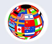 Globe with flags