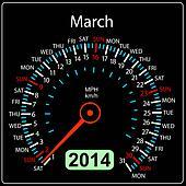 2014 year calendar speedometer car in vector. March.