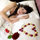 Happy woman with I love you message from lover