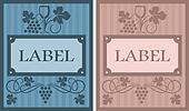 Wine labels in retro style