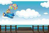 A boastful monkey flying on a plane